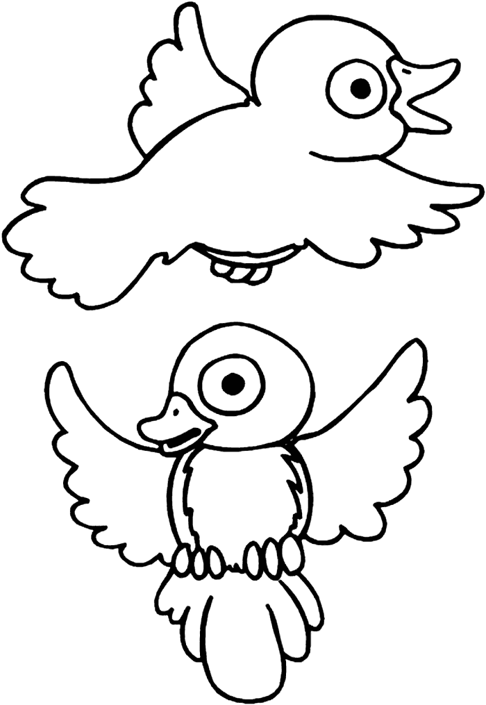 Cute Baby Robins Coloring Page