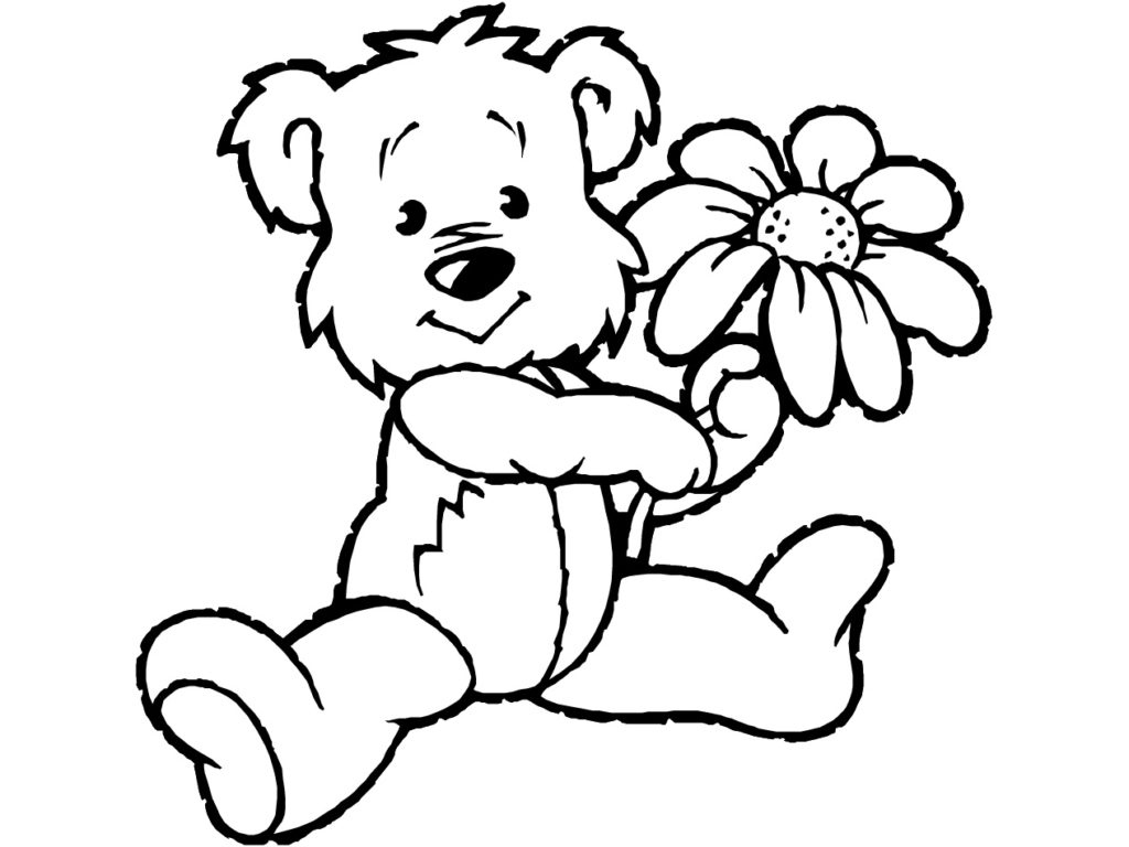 Cute Bear Kindergarten Coloring Pages