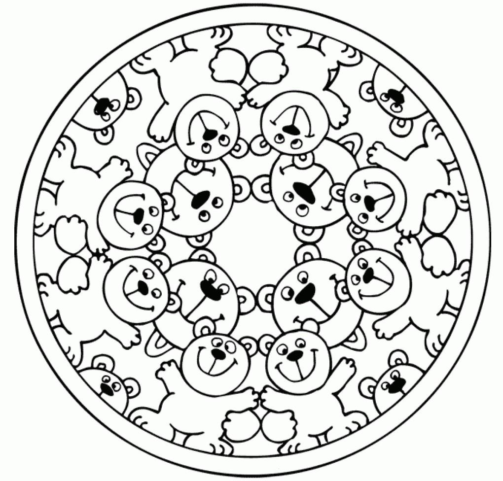 Cute Bear Mandala Coloring Page
