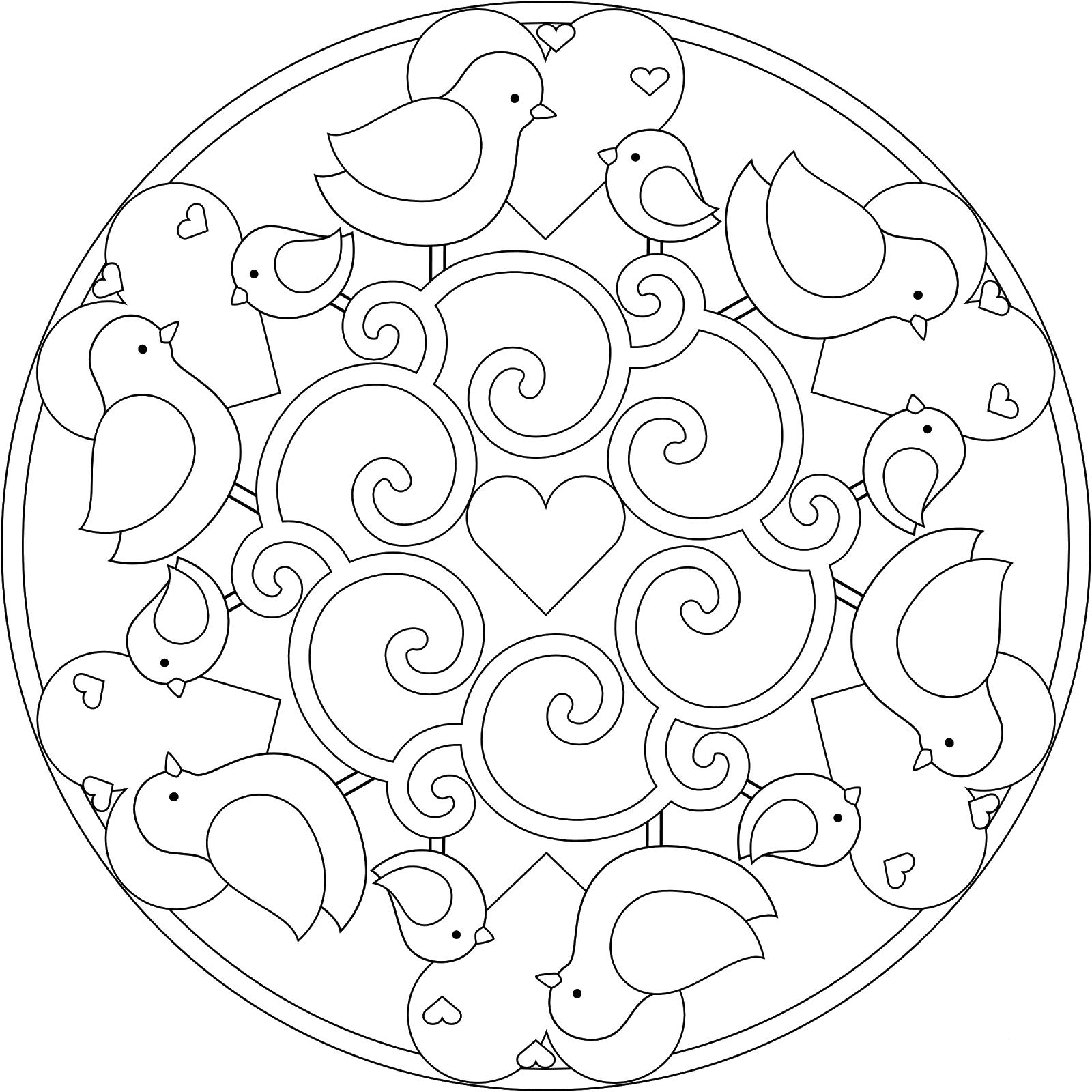 Cute Bird Mandala Coloring Page