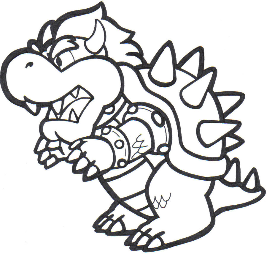 Cute Bowser Coloring Page