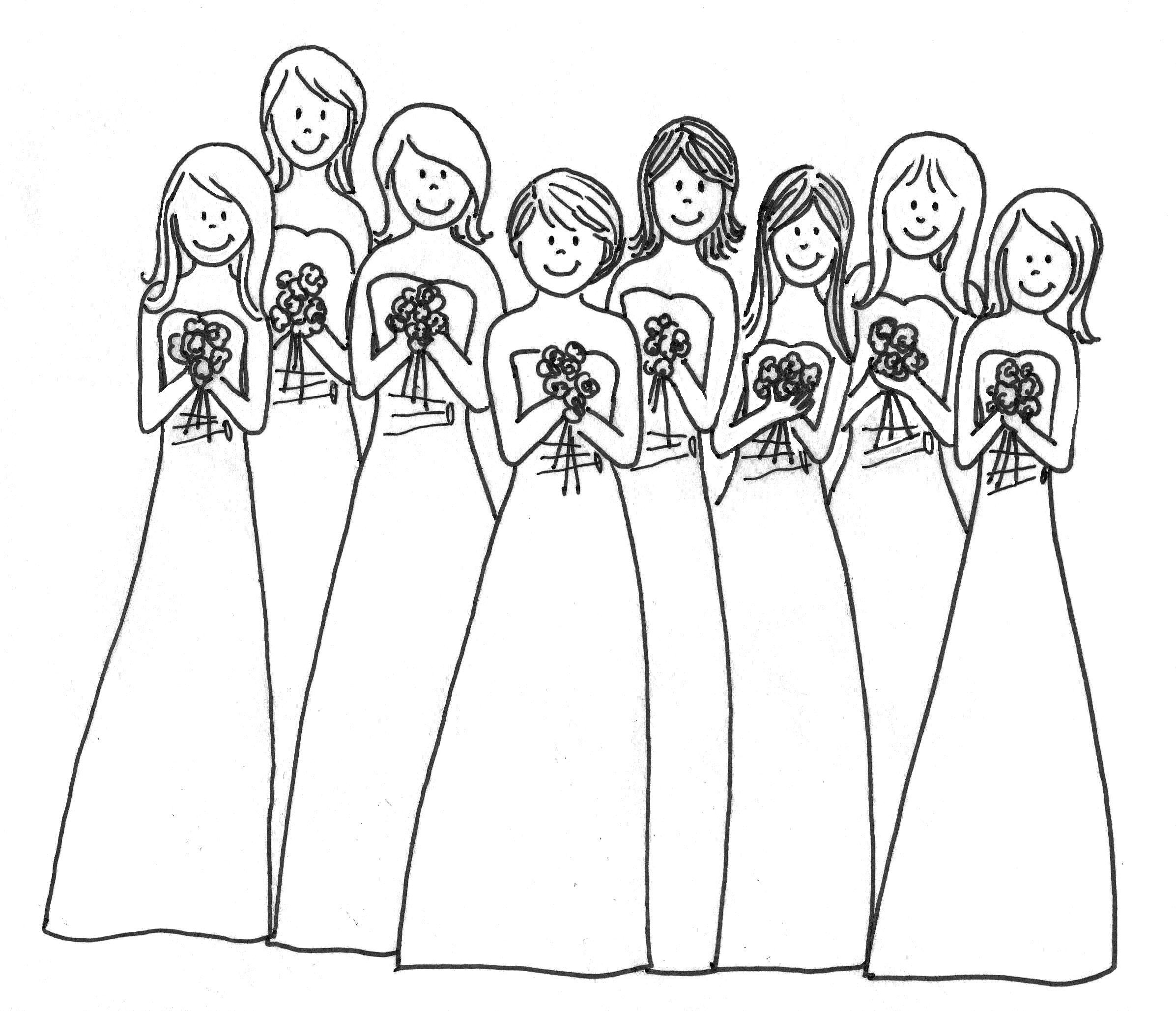 Cute Bridesmaids Coloring Page