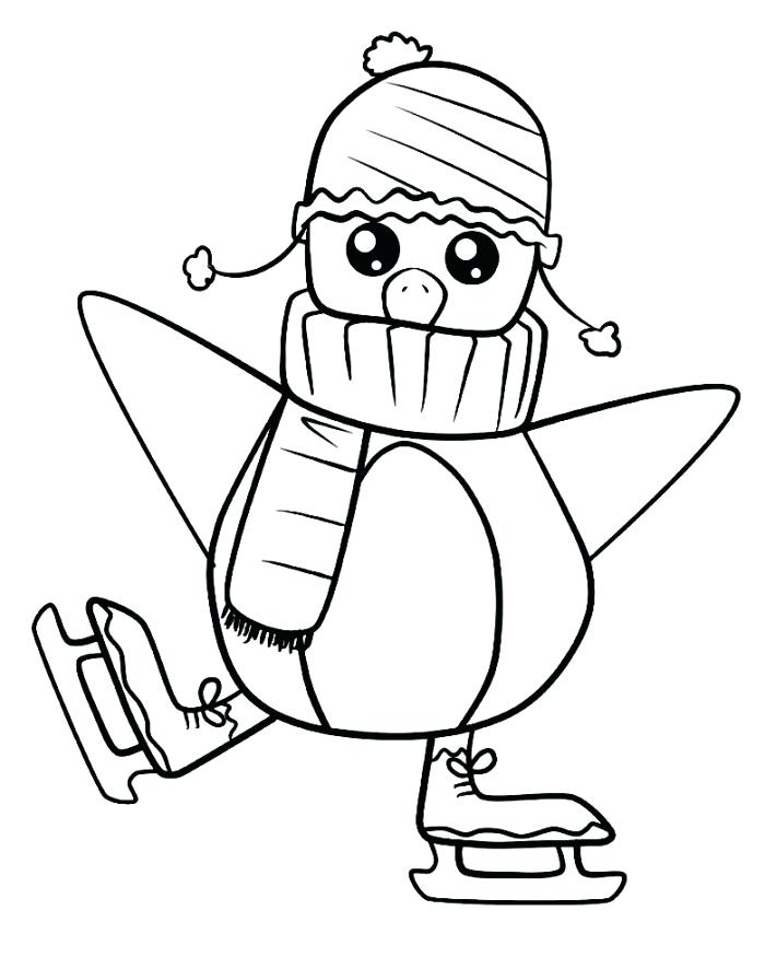 Cute Cartoon Ice Skating Penguin Coloring Page
