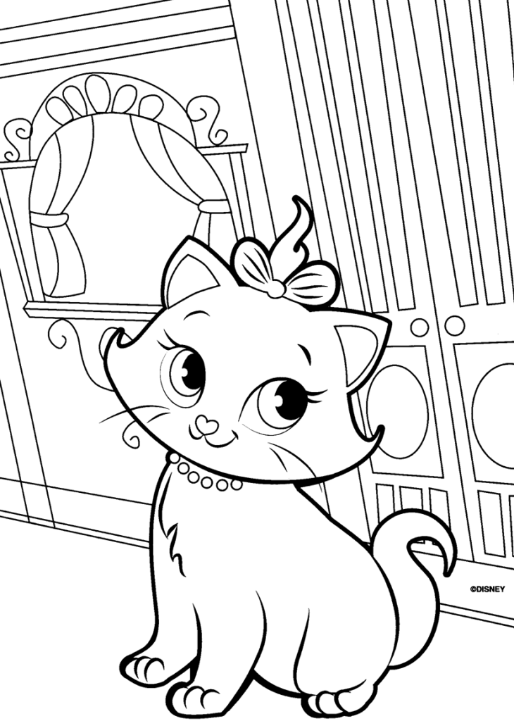 Cute Cat Coloring Page Printable