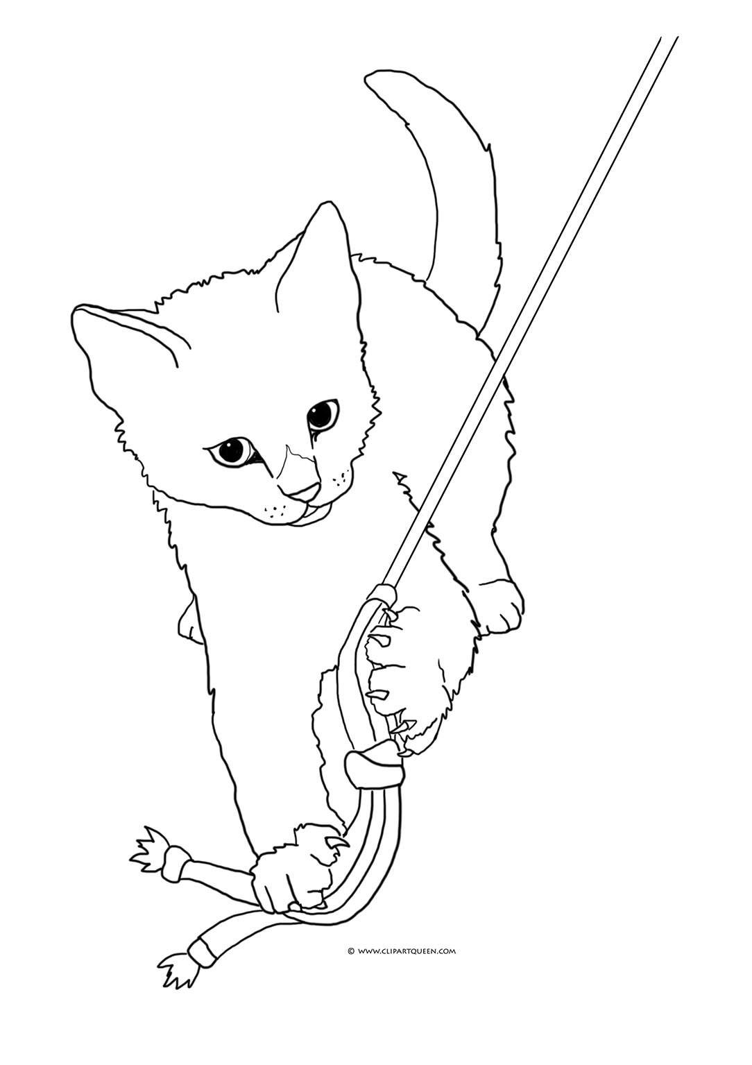 Cute Cat Playing with Toy Coloring Page