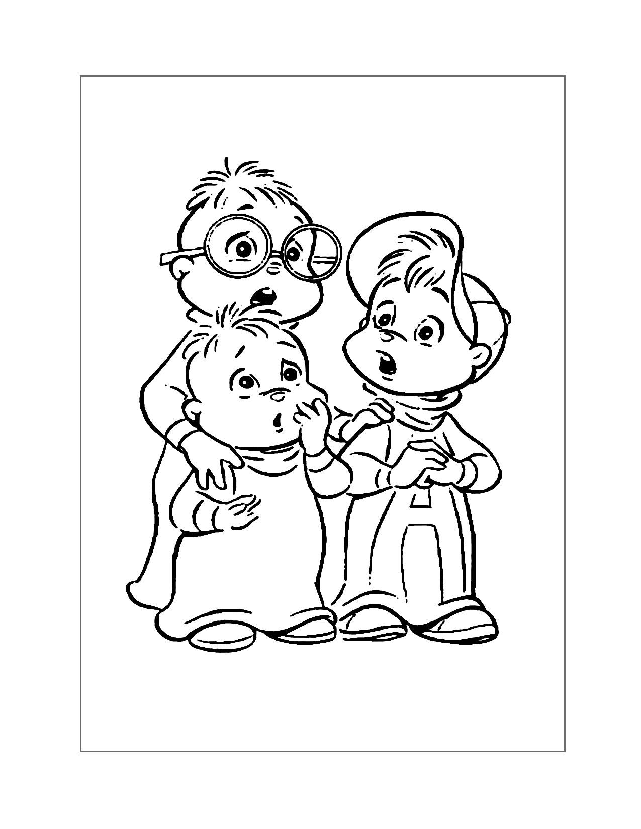 Cute Chipmunks Coloring Page