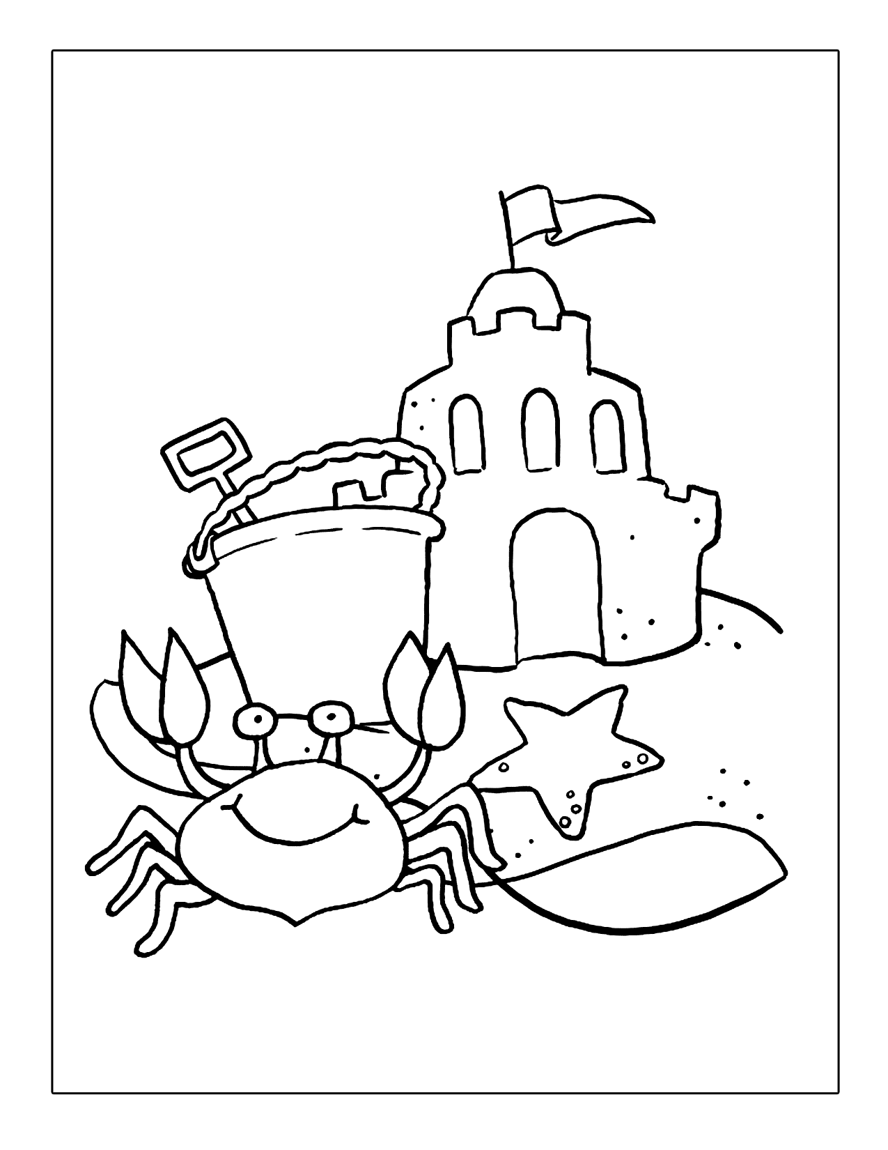 Cute Crab On The Beach Coloring Page