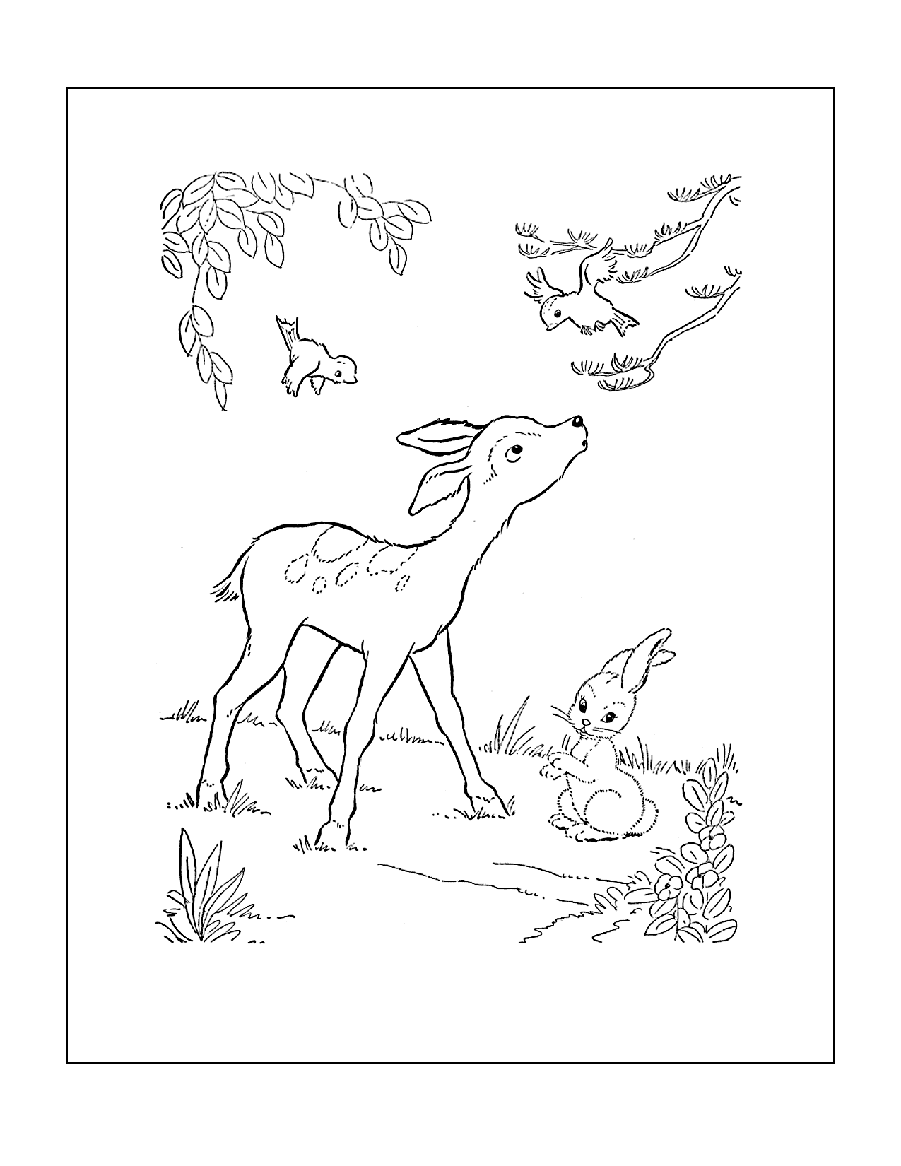 Cute Deer And Rabbit Coloring Page
