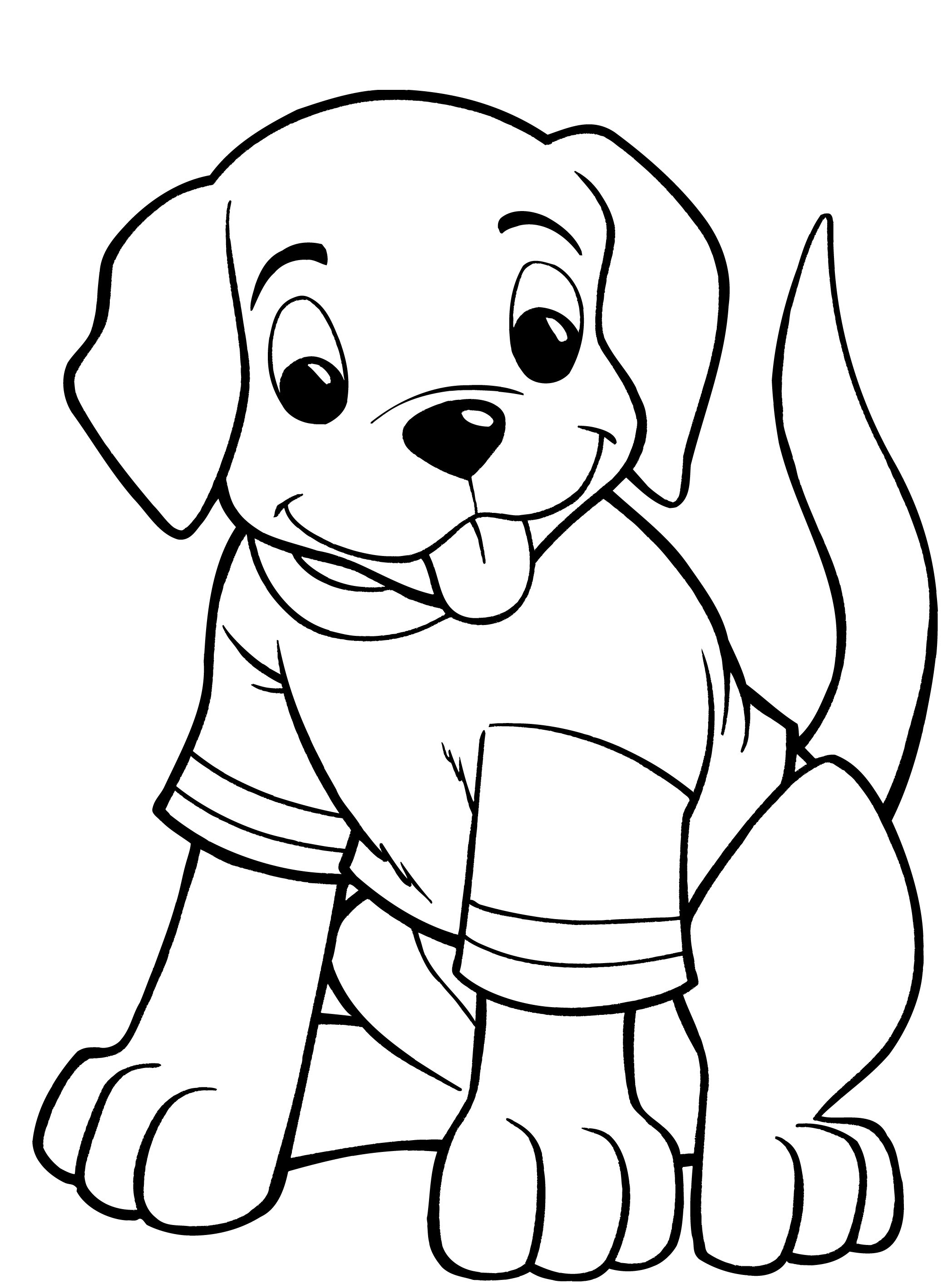 Cute Dog Kindergarten Coloring Pages