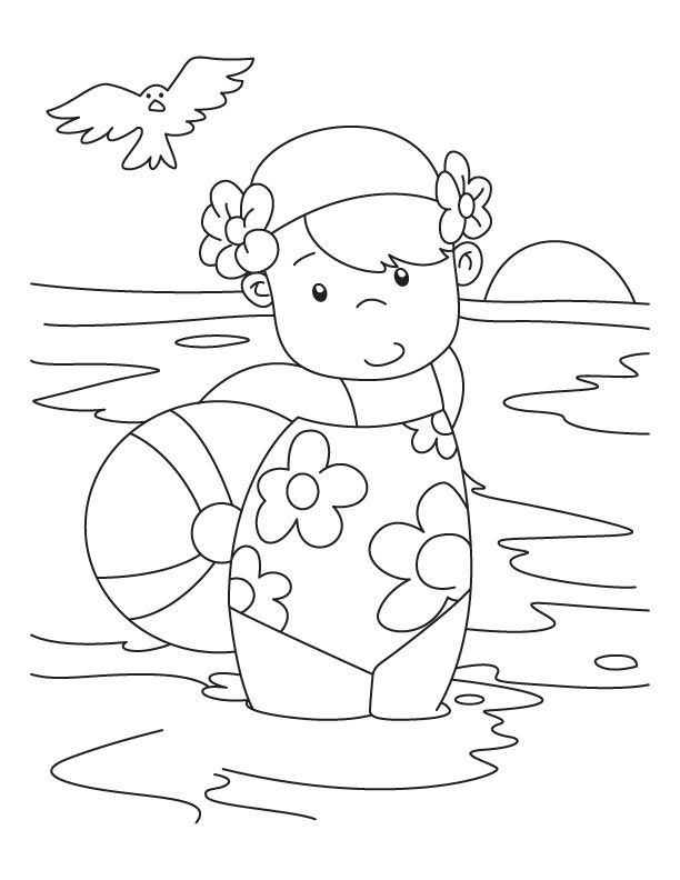 Cute Girl at the Beach Coloring Page