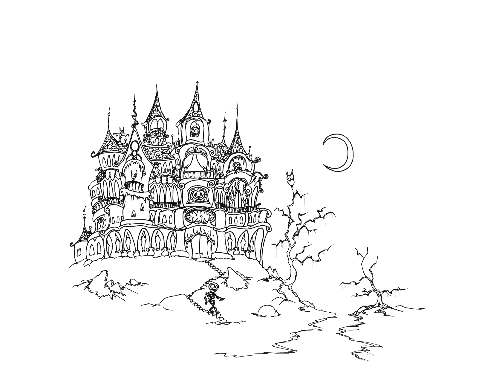 Cute Halloween Haunted House Coloring Page
