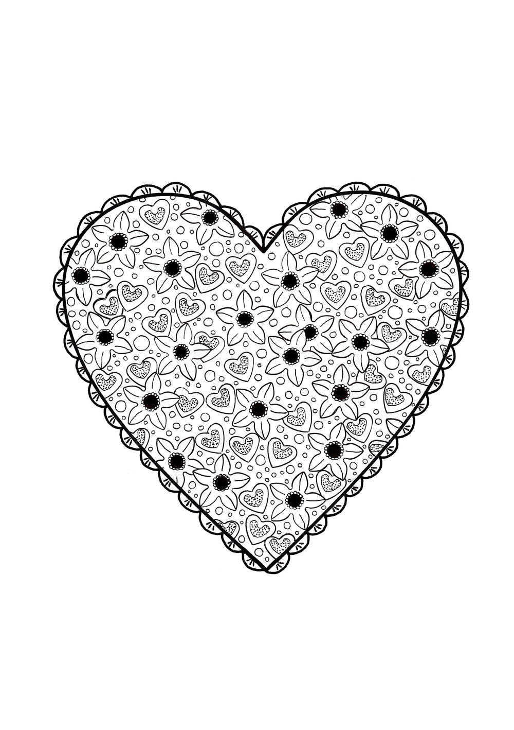 Cute Heart Valentines Day Coloring Page for Adults