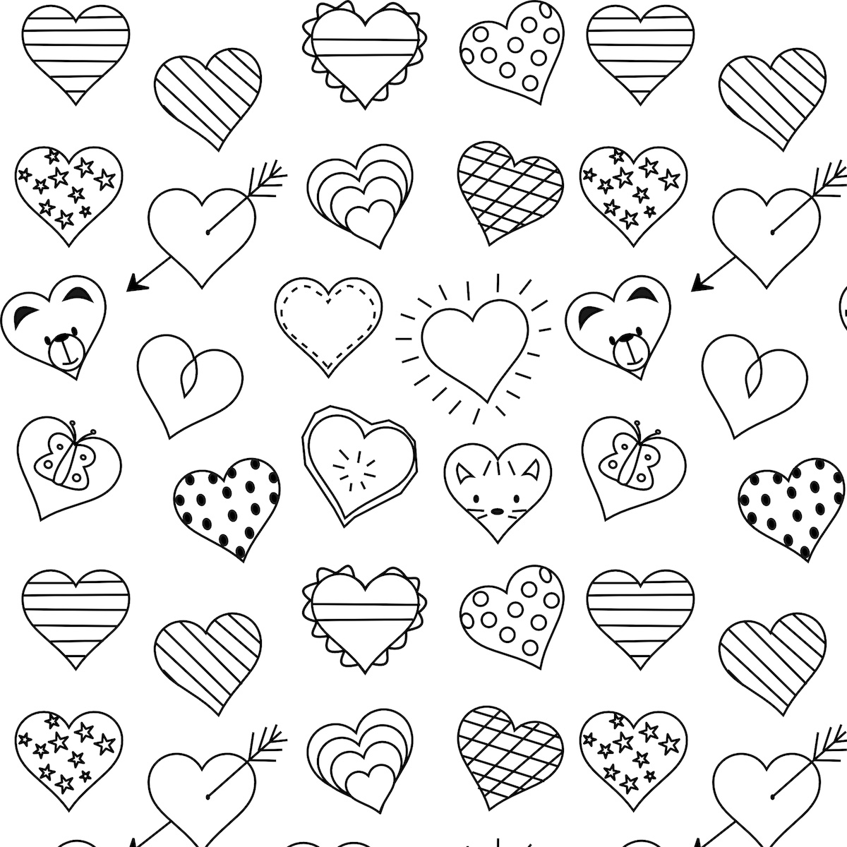 Cute Hearts Coloring Pages