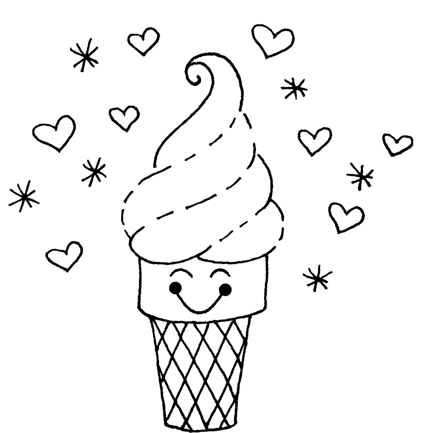 Cute Ice Cream Cone Coloring Page