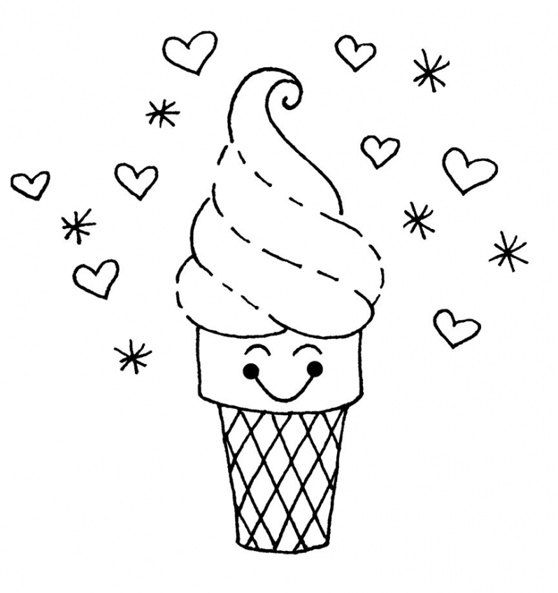 Cute Ice Cream Cone Coloring Page