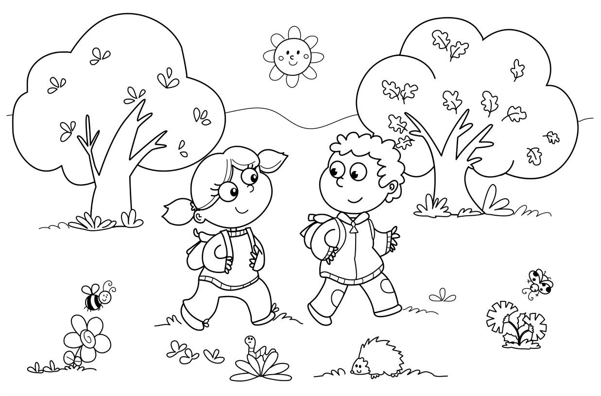 Cute Kids Kindergarten Coloring Pages