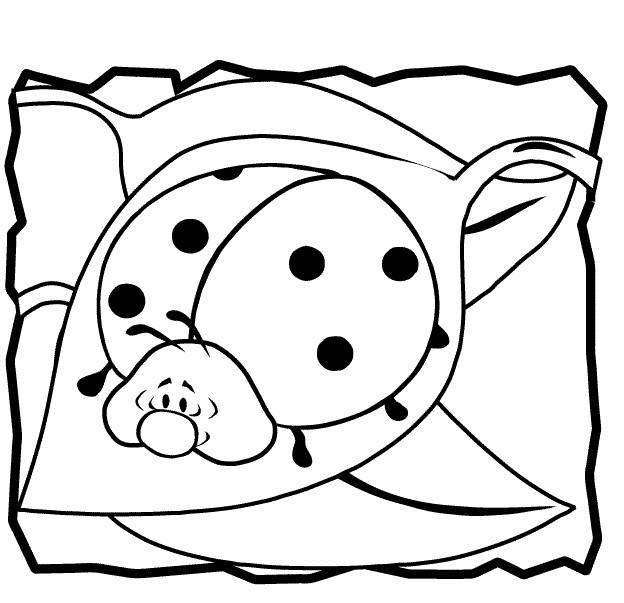 Cute Ladybug Cartoon Coloring Page