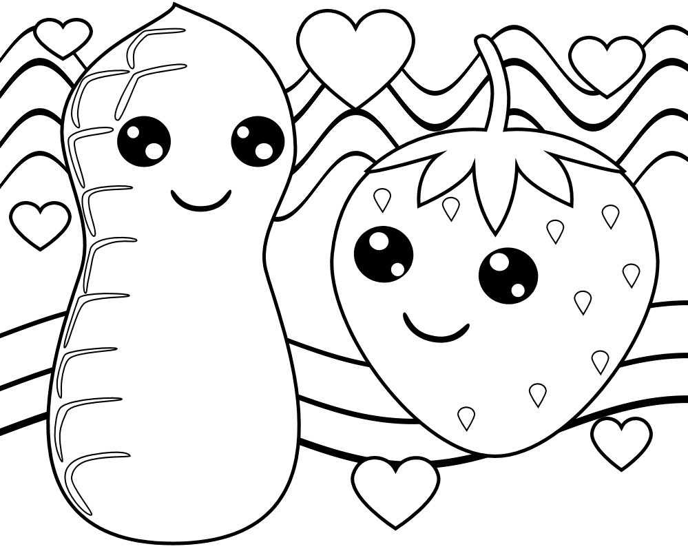 Cute Peanut and Strawberry Food Coloring Page