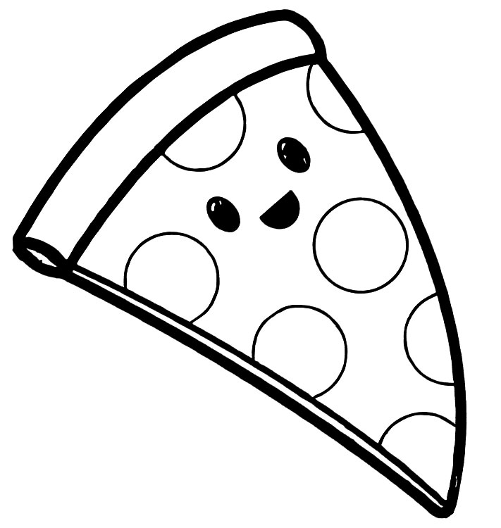 Cute Pizza Coloring Page
