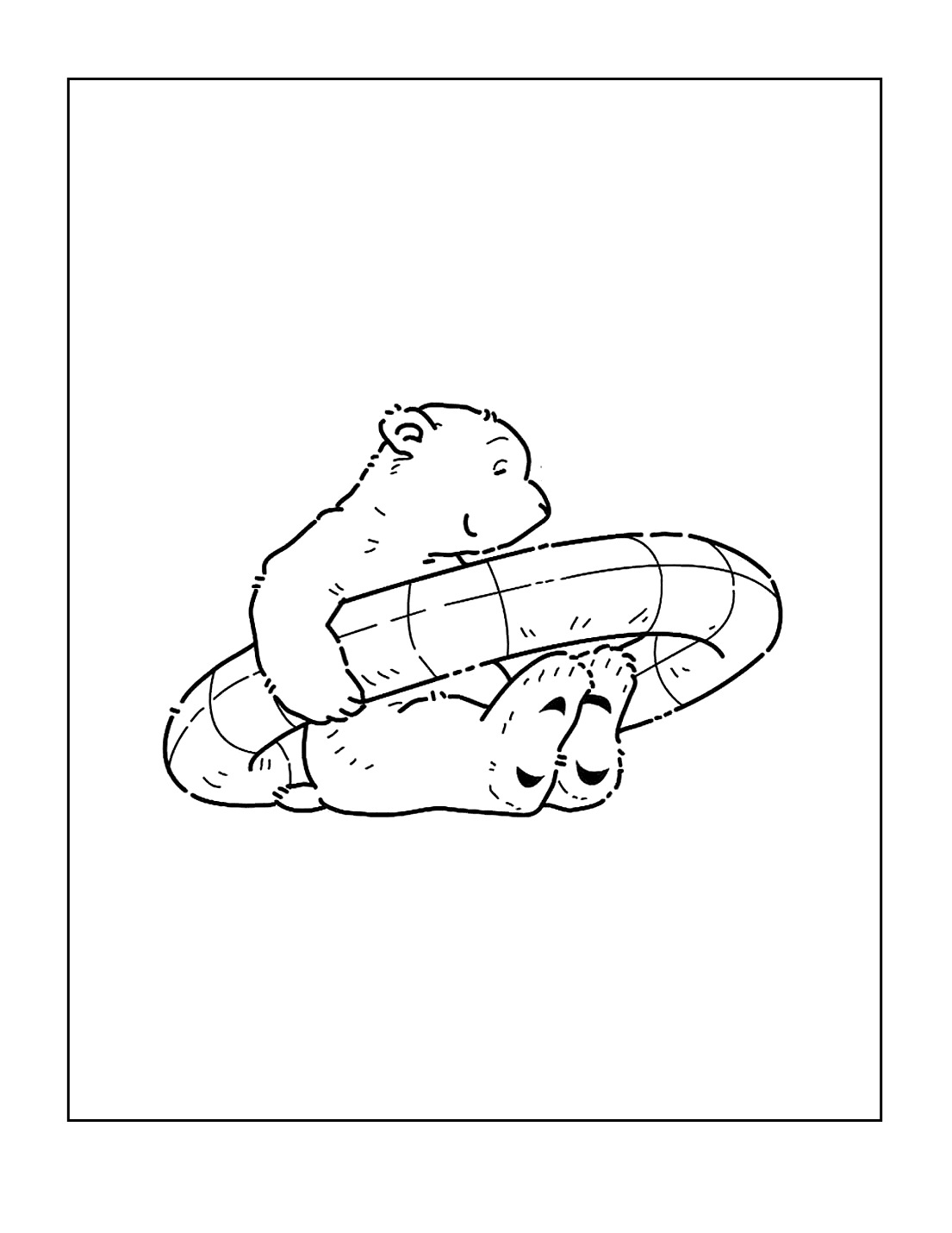 Cute Polar Bear In Inner Tube Coloring Page