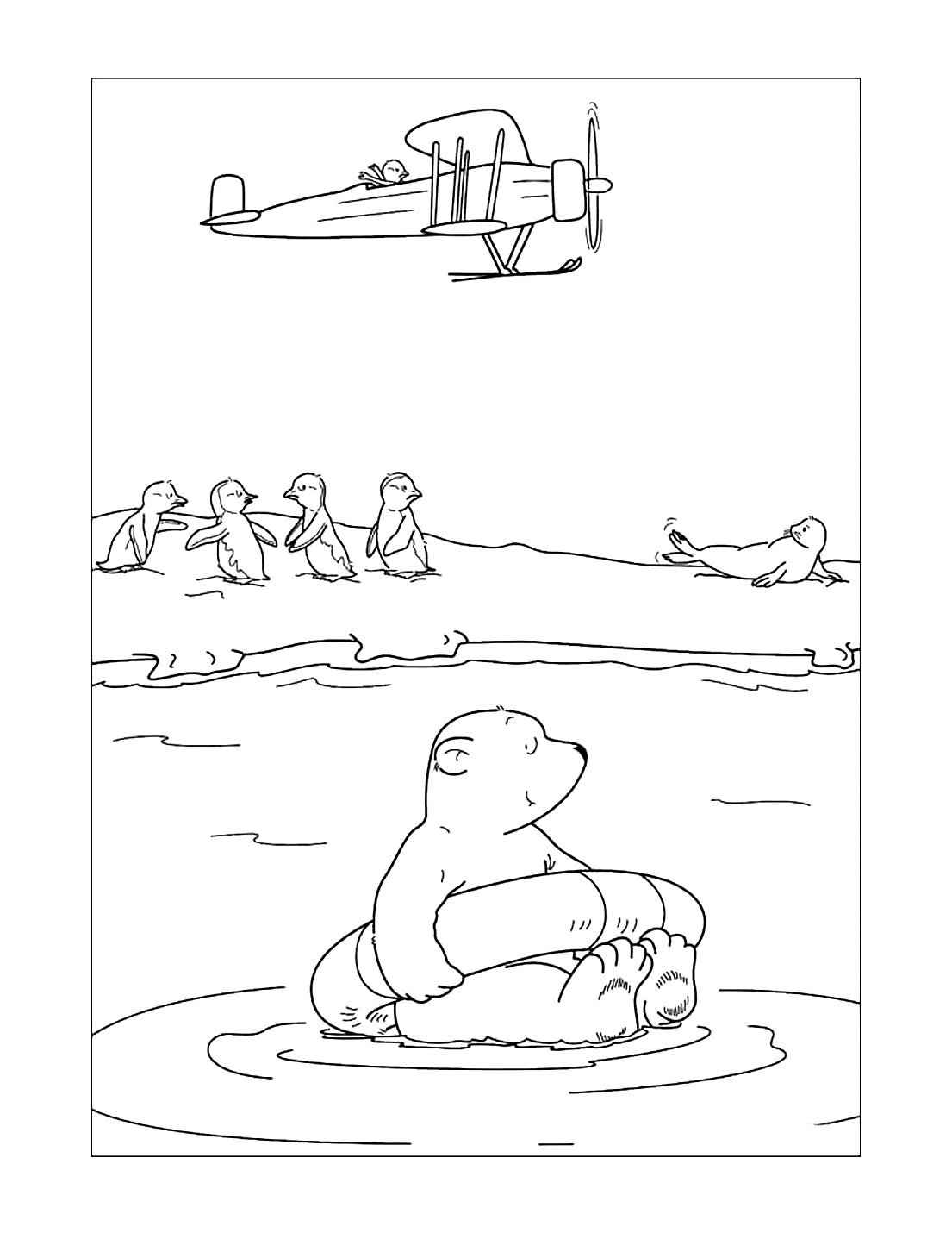 Cute Polar Bear With Penguins Coloring Page