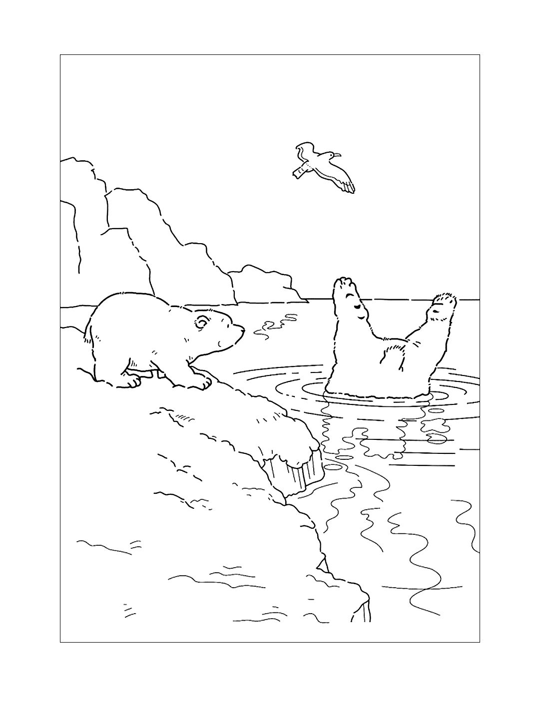 Cute Polar Bears Coloring Page