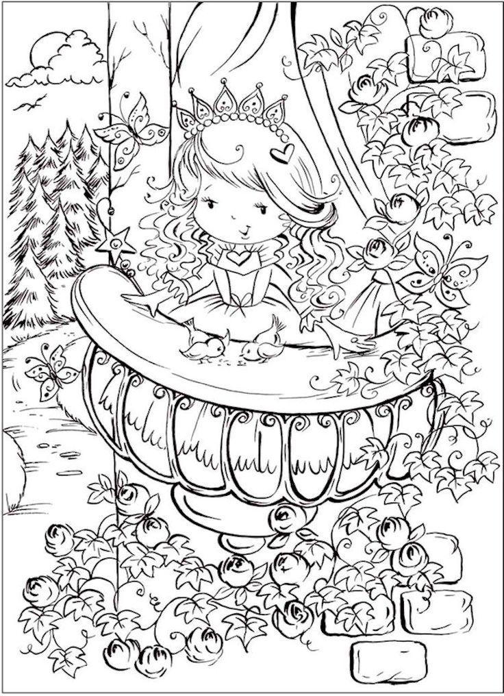 Cute Princess Coloring Page Printable