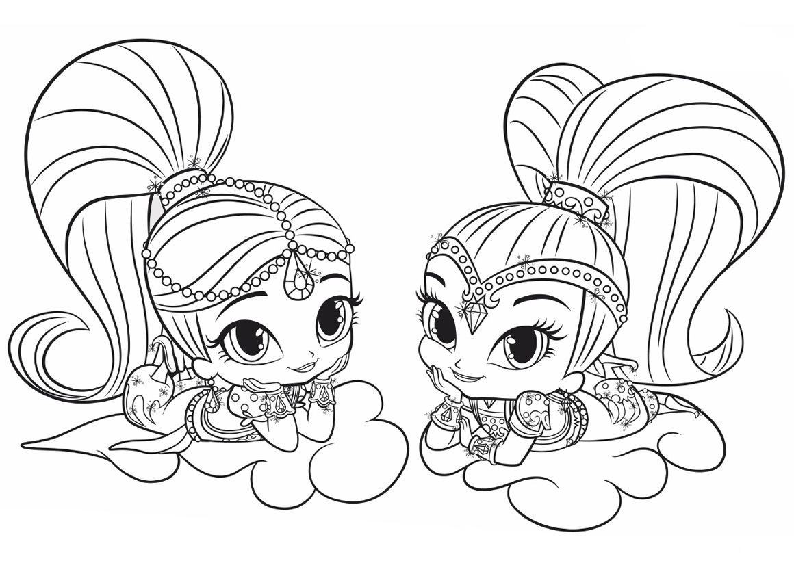Cute Shimmer and Shine Coloring Pages