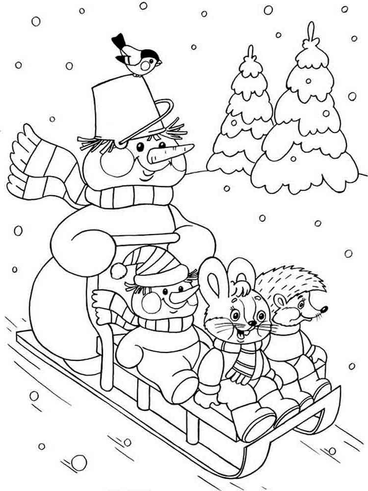 Cute Sledding in Winter Coloring Page