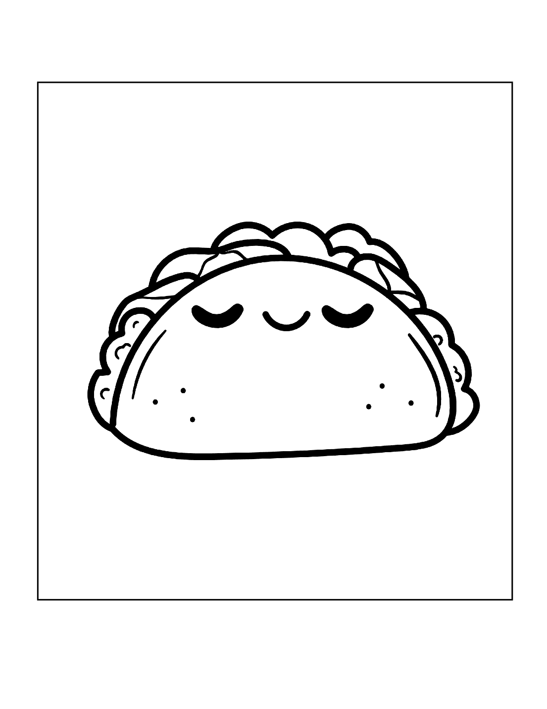 Cute Taco Coloring Page