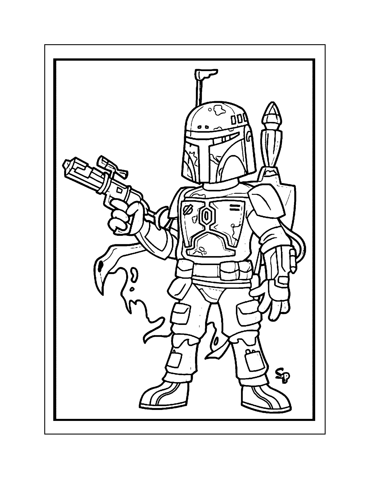 Cute Toy Cartoon Boba Fett Coloring Page