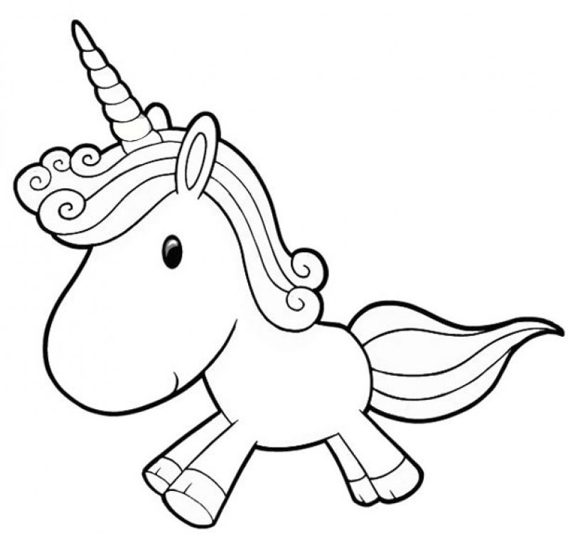 Cute Unicorn Cartoon Coloring Page