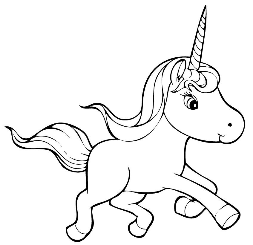 Cute Unicorn Clip Art for Coloring