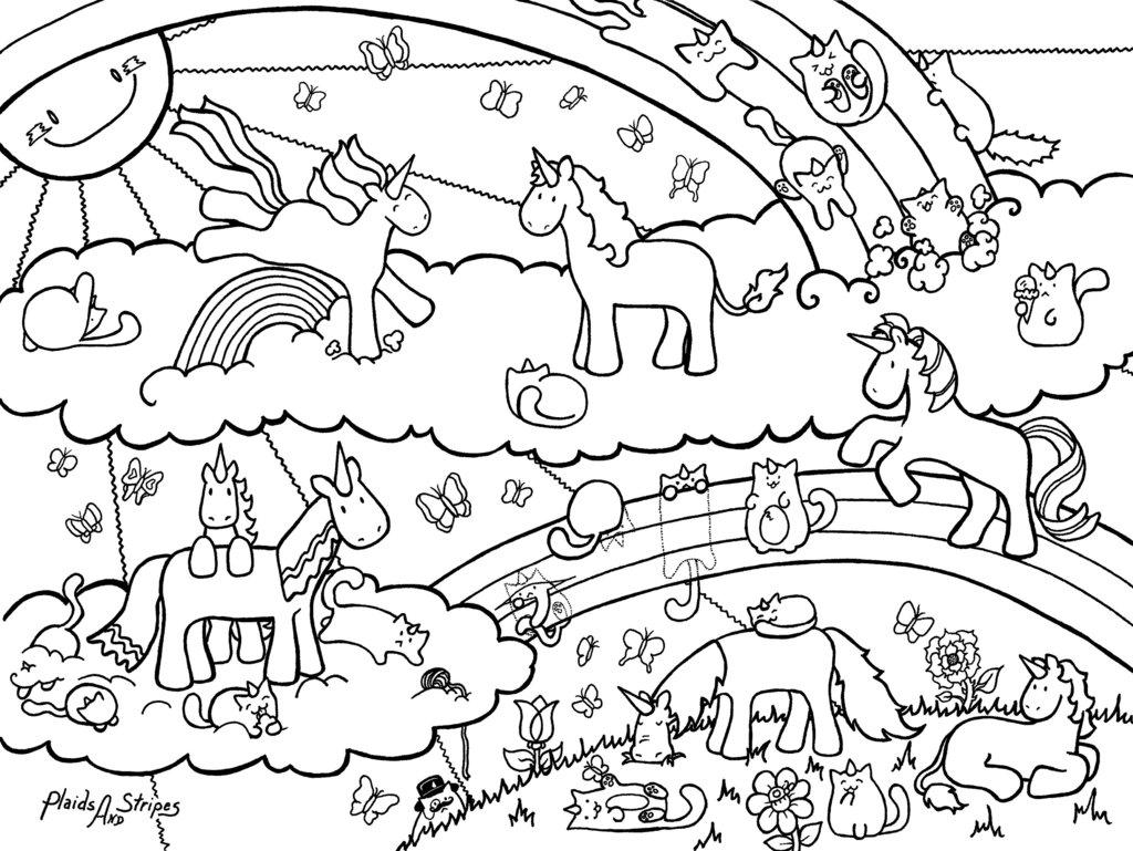 Cute Unicorns and Rainbows Coloring Printable