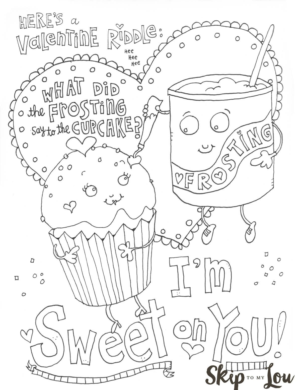 Cute Valentine Cartoon Coloring Page