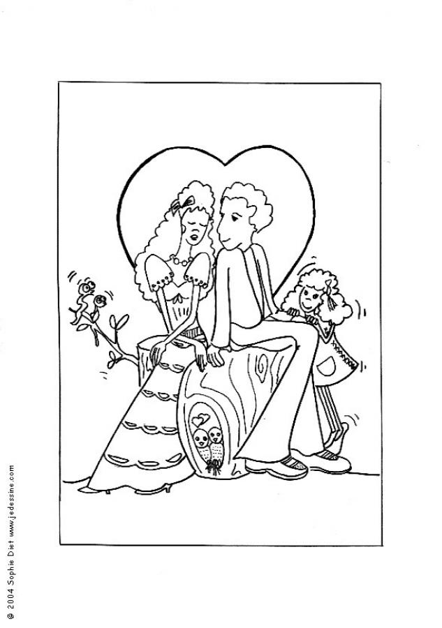 Cute Wedding Couple Coloring Page