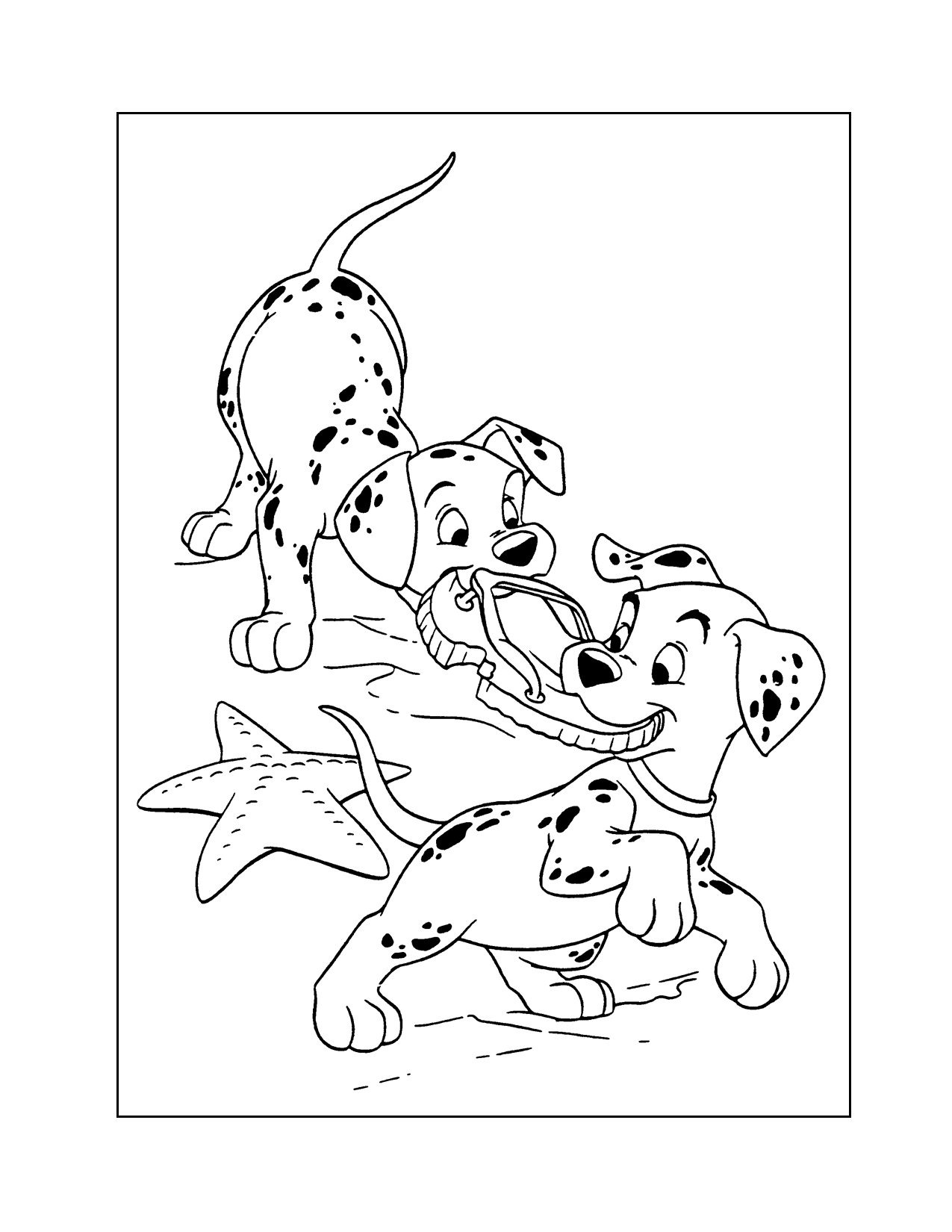 Dalmatian Puppies Eating Shoe Coloring Page