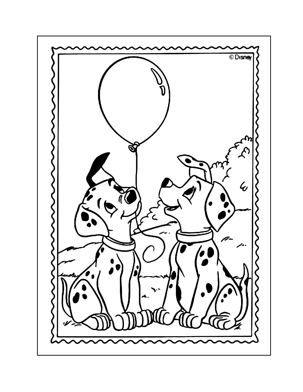 Dalmatian Puppies With A Balloon Coloring Page