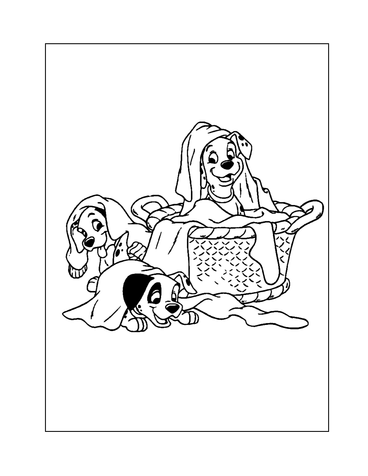 Dalmatians In The Laundry Coloring Page