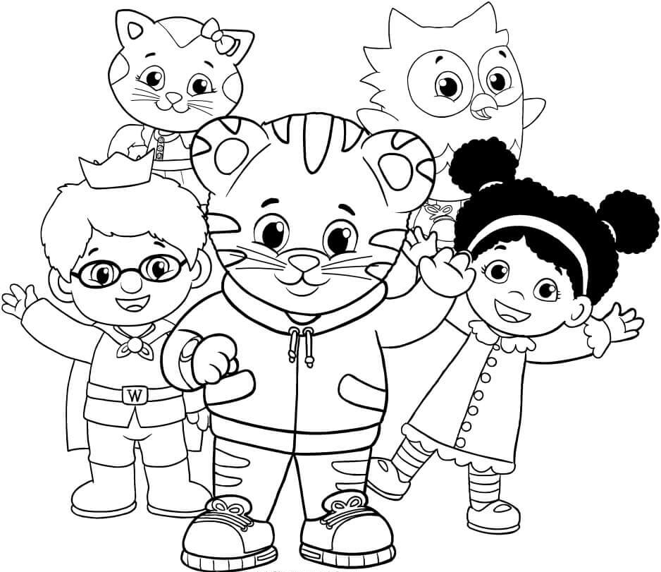 Daniel Tiger Characters Coloring Page