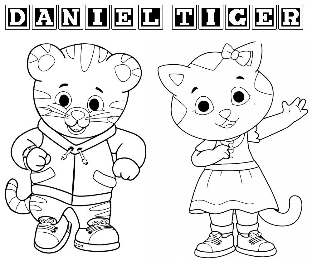 Daniel Tiger and Catarina Coloring Page