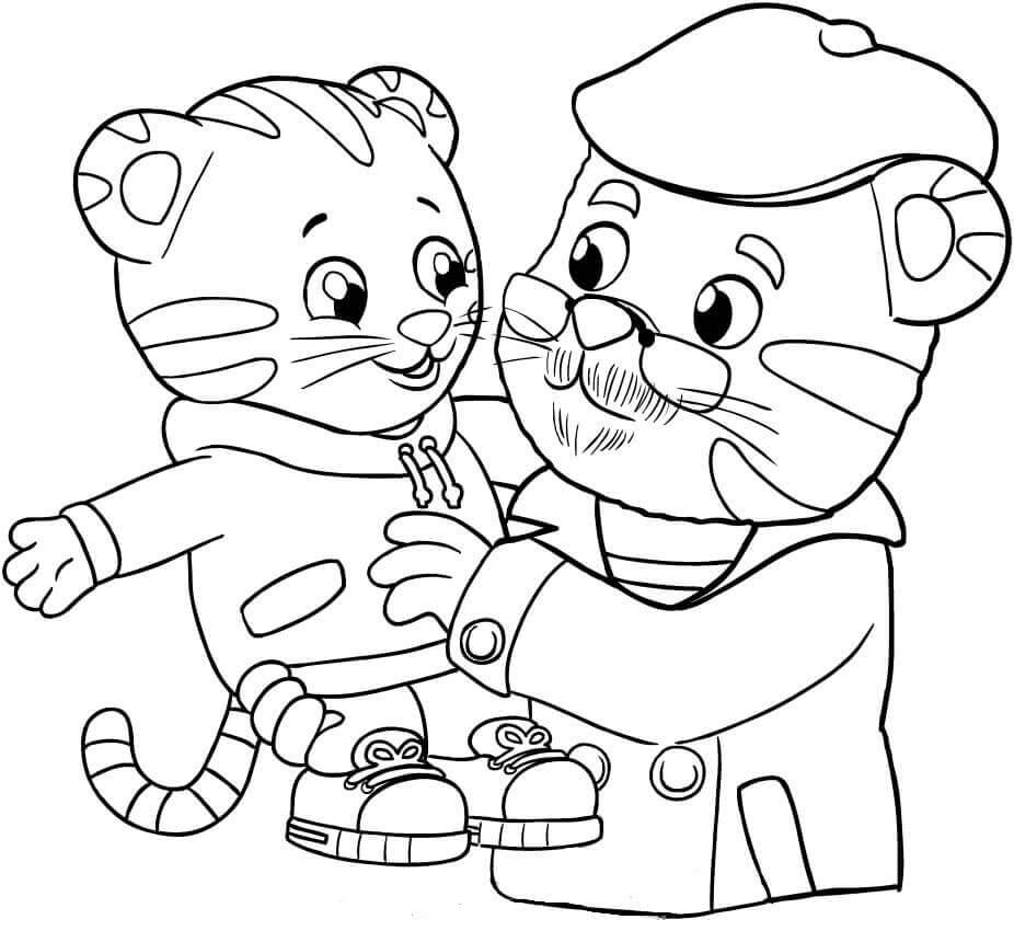 Daniel Tiger and Grandpa Coloring Page