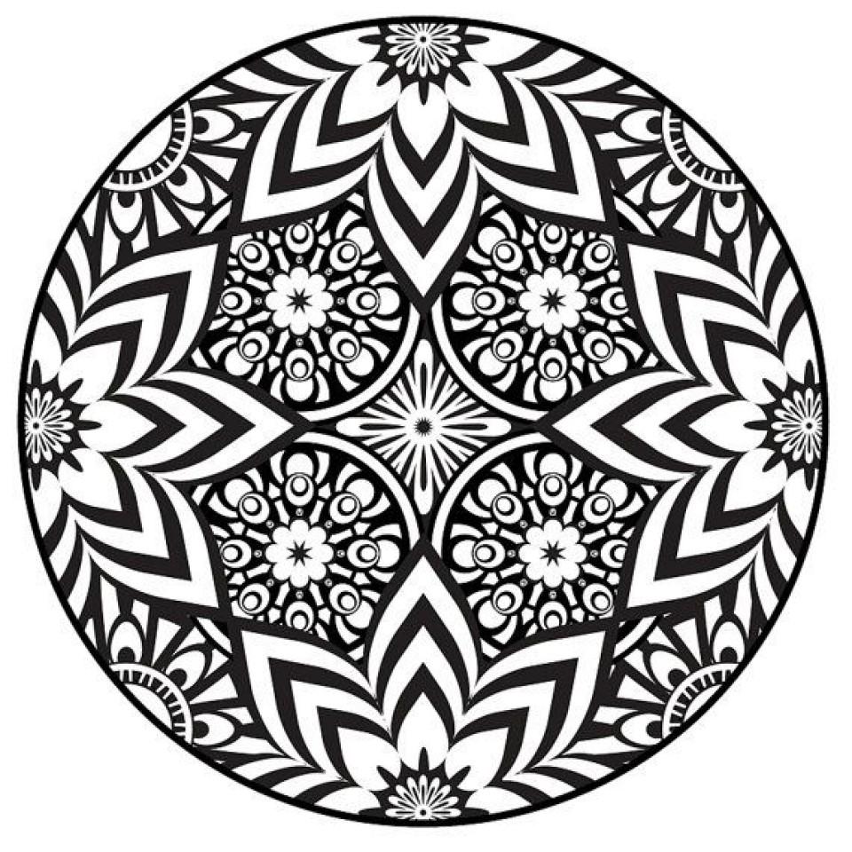 Dark Flower Mandala Coloring Pages