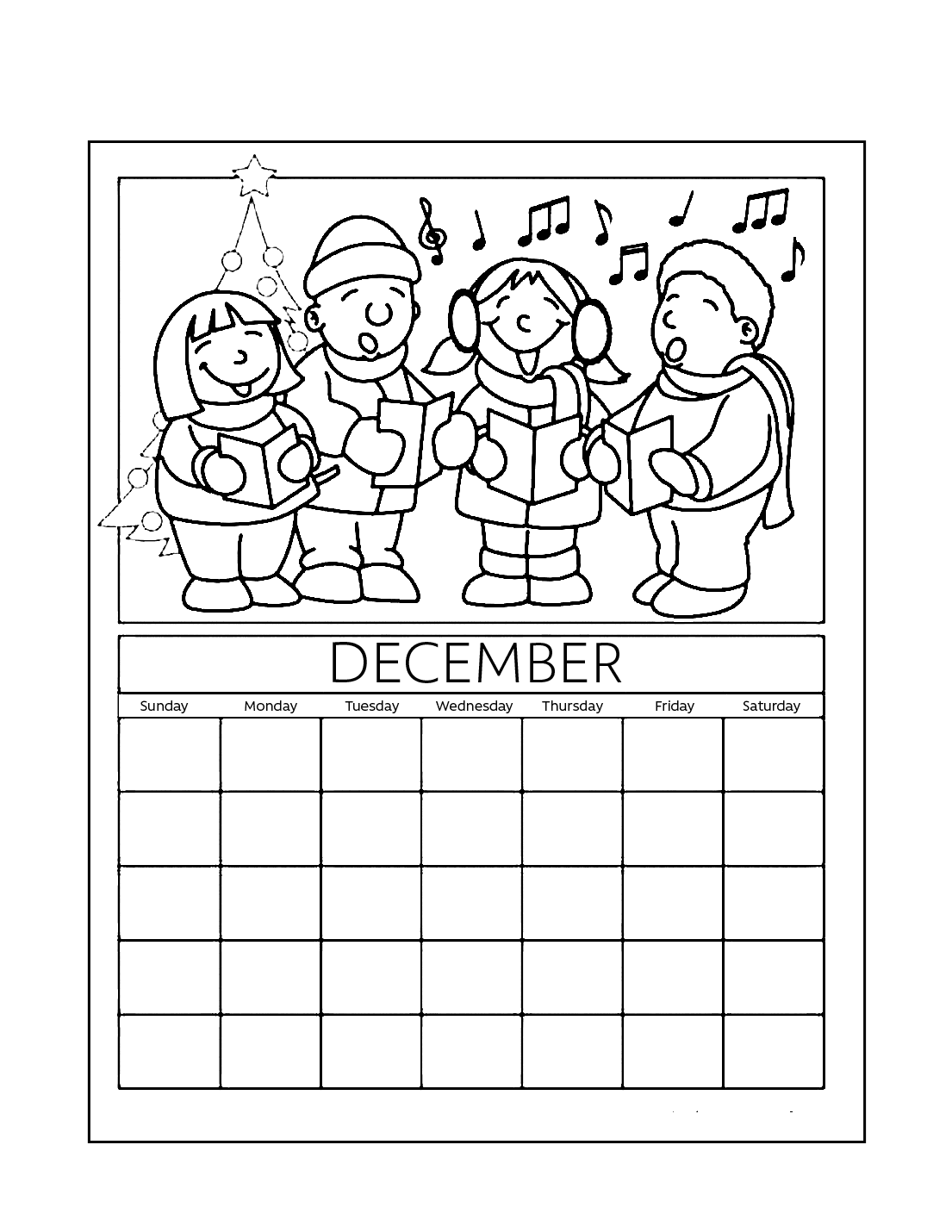 December Calendar Coloring Sheet