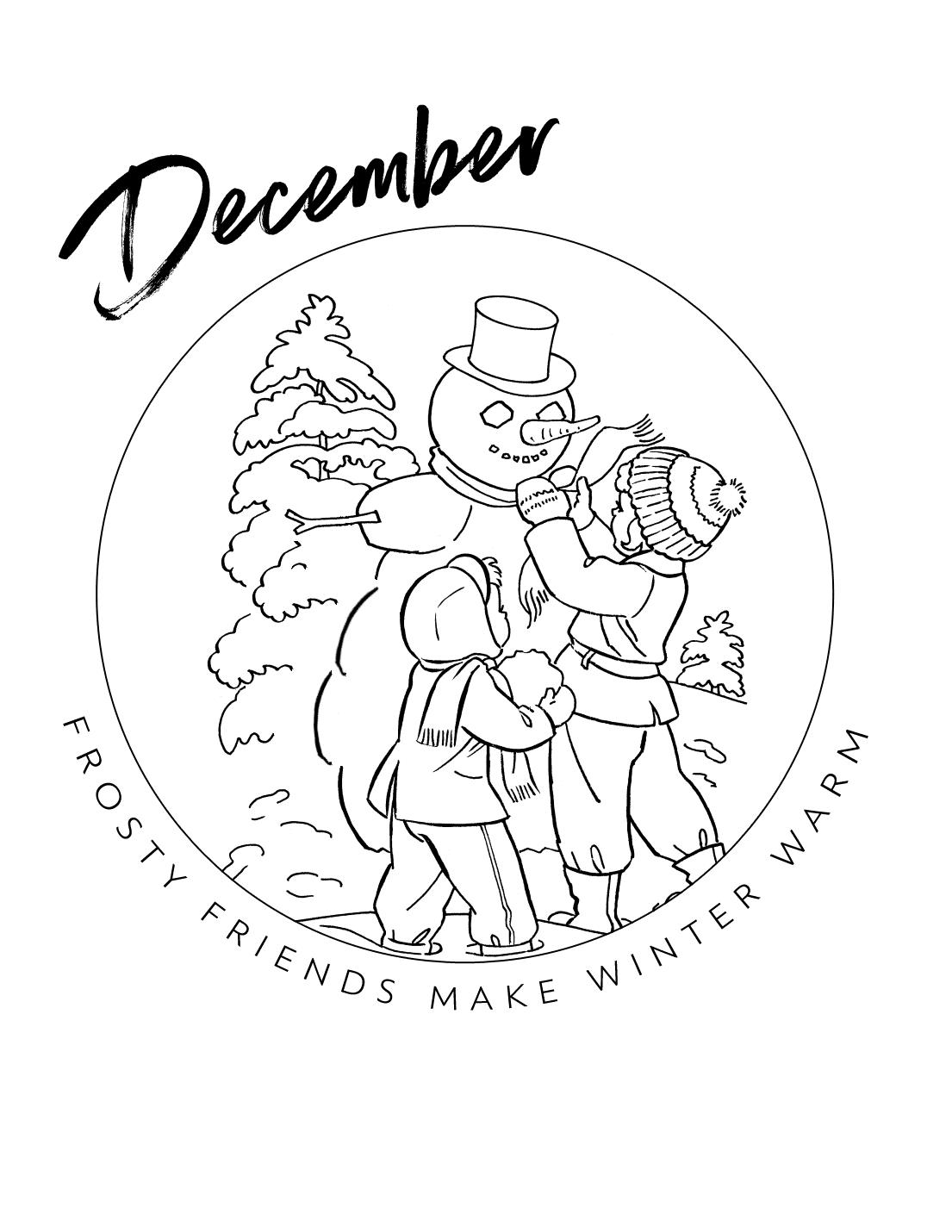 December Ornament Snowman Coloring Page