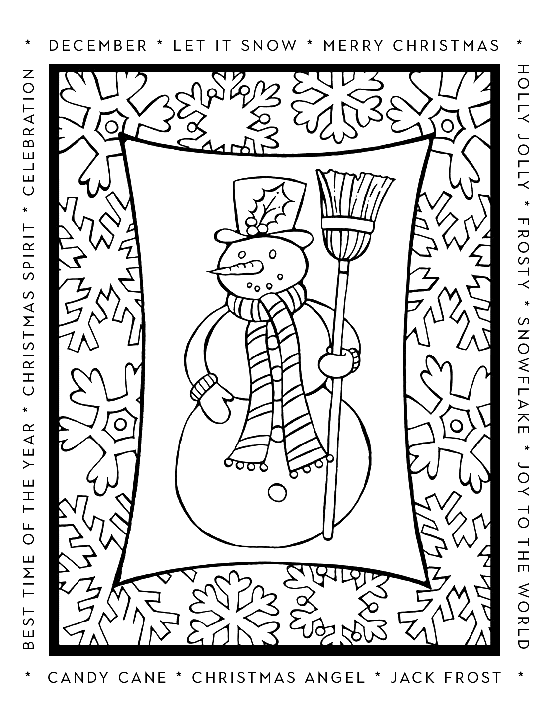December Snowman Winter Sayings Coloring Page