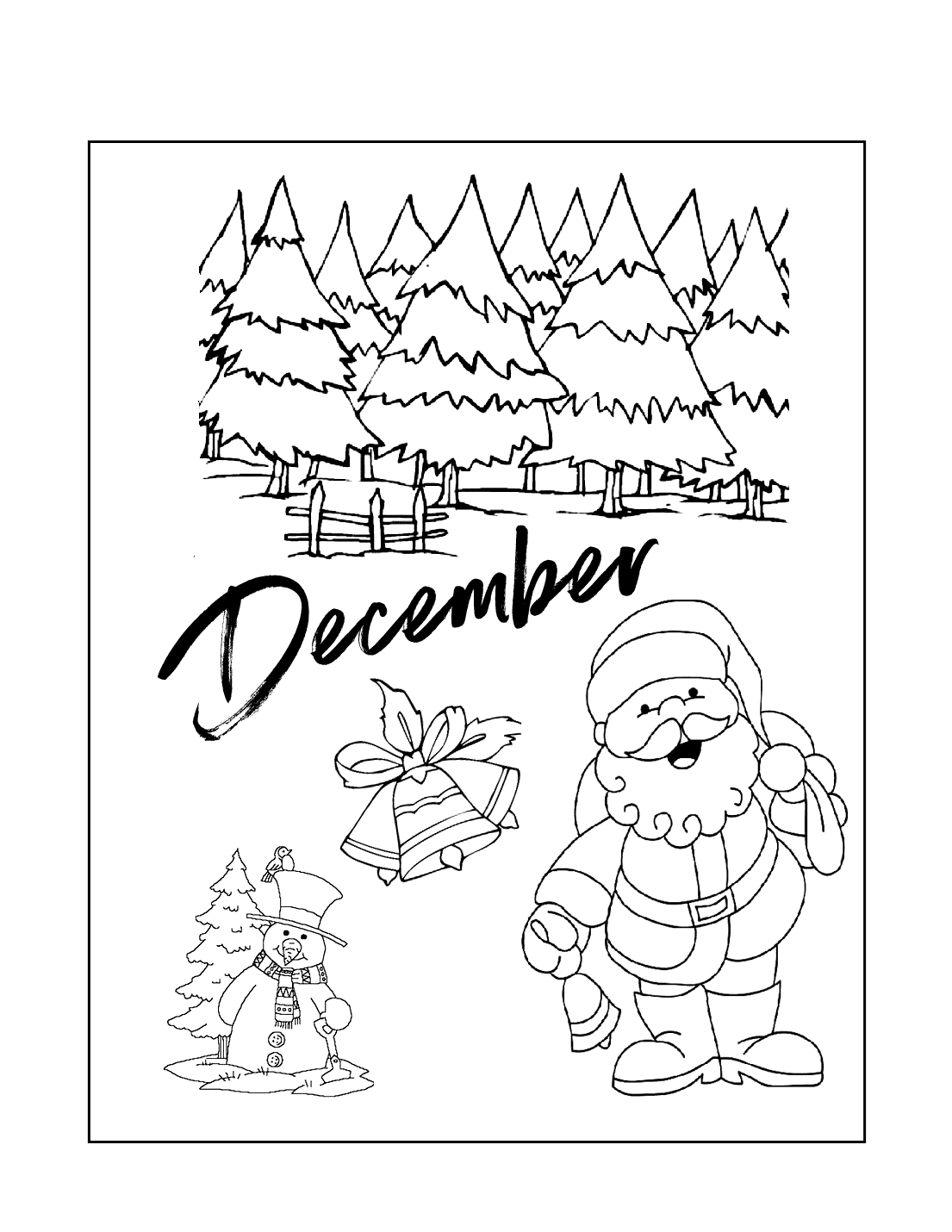December Winter Season Coloring Page