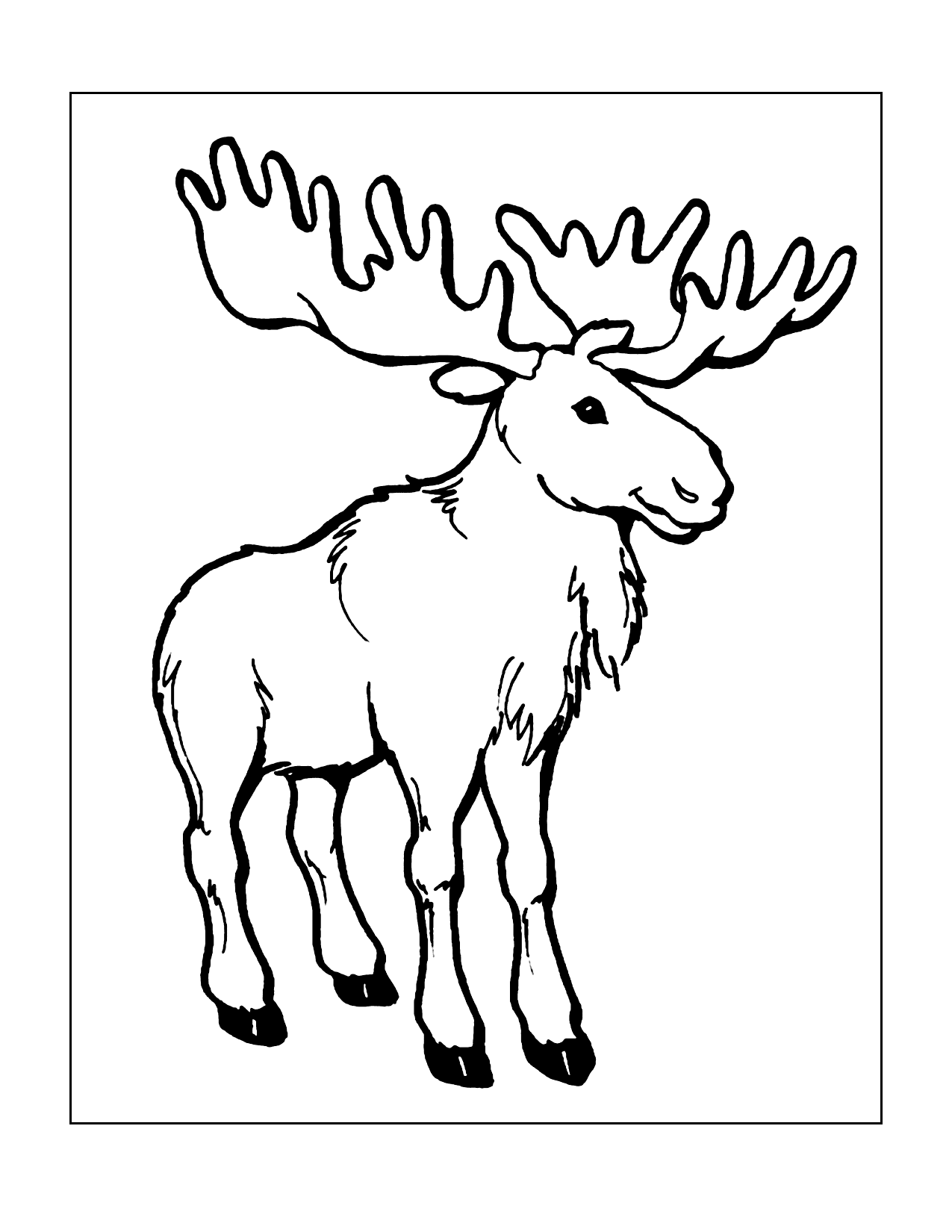 Deer With Large Antlers Coloring Page