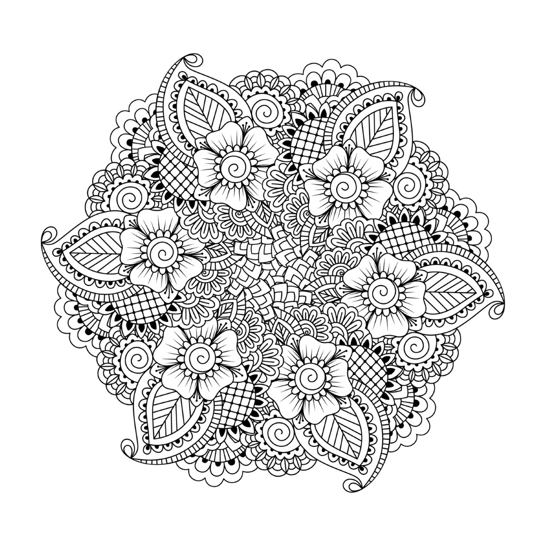 Detailed Flower Mandala Coloring Page for Adults