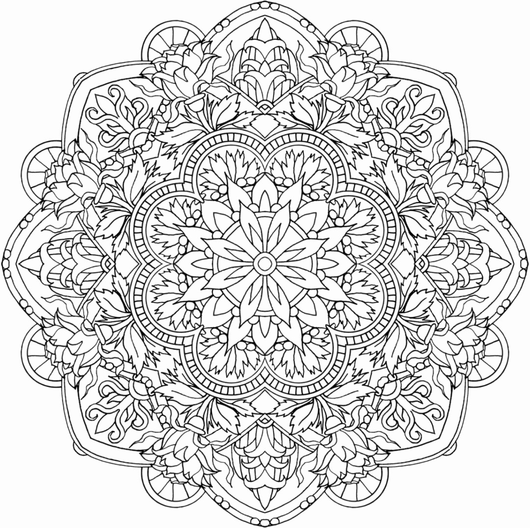 Detailed Flower Mandala Coloring for Adults